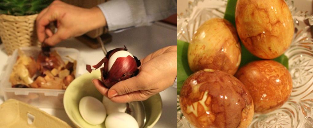 Ostereier mit Zwiebelschalen färben_Hand im Glück