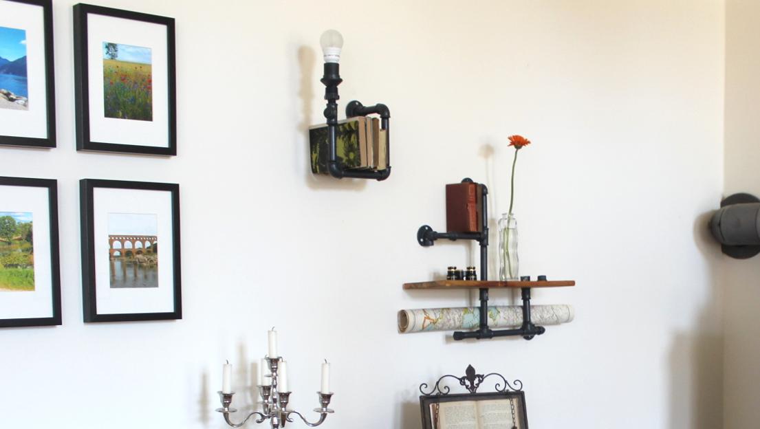 regal aus rohren im industrial look hand im gl ck mein. Black Bedroom Furniture Sets. Home Design Ideas