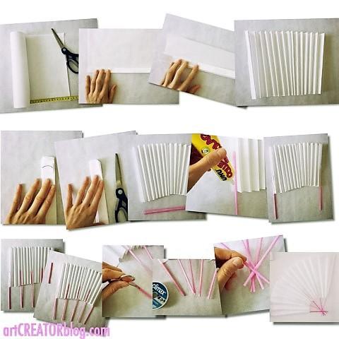 DIY Fächer aus Papier und Strohhalmen
