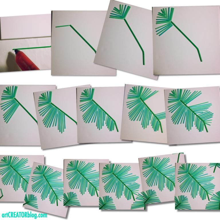 DIY Palmen Bild aus Strohhalmen