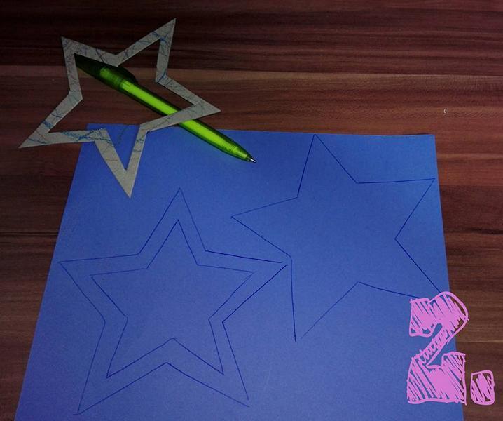 Geburtstag_Einladungskarten_Sternstab_für_Mädchen_Schritt_für_Schritt_Anleitung_Sterne_auf_Papier_zeichnen_Hand_im_Glueck