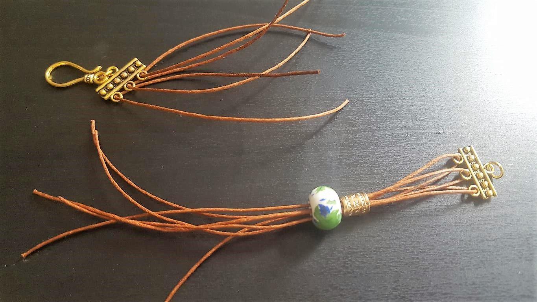verspieltes Armband im orientalischen Stil mit goldenen Elementen und Keramikperle mit Blumenaufdruck _ HandimGlück (3)