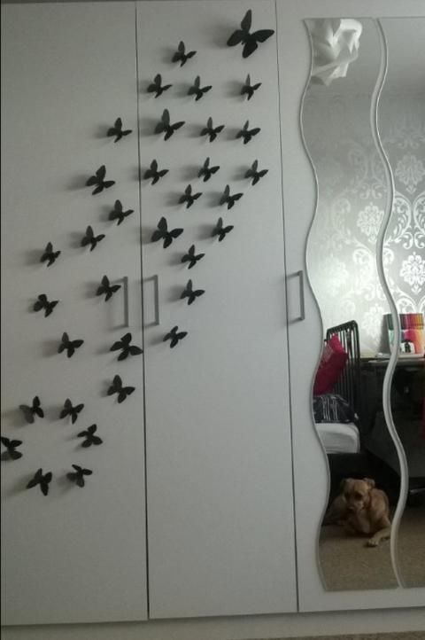 3D Deko Schmetterlinge am Schrank DIY Hand im Glück