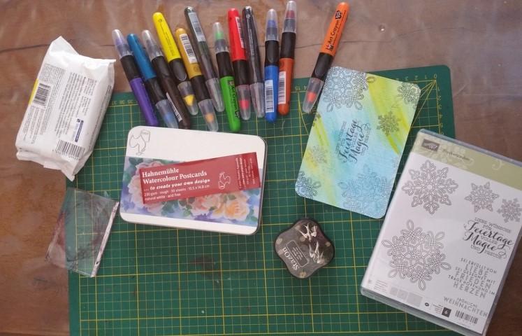 Aquarell Postkarte DIY Hand im Glück