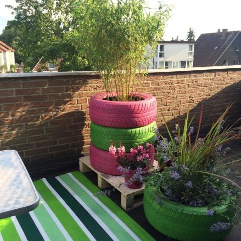 Blumenkasten aus Autoreifen für Garten, Balkon und Terrasse Hand im Glück
