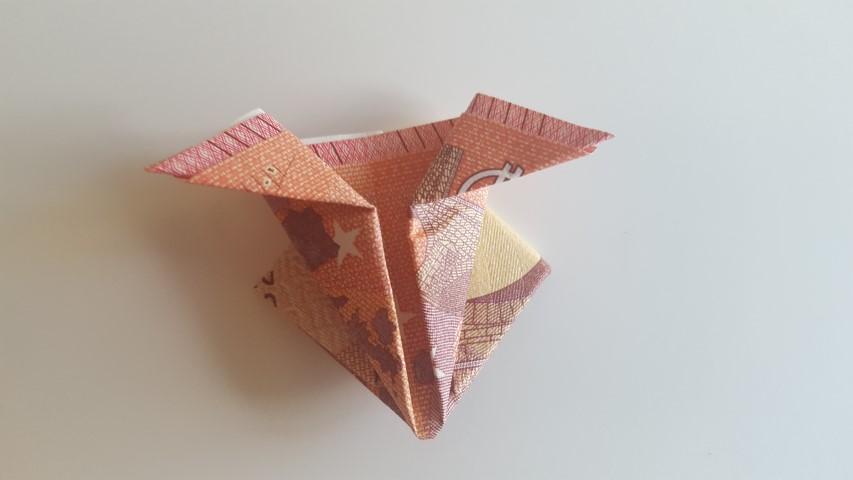 Danach-die-oberen-Spitzen-jeweils-zur-Seite-nach-außen-falten-Geldgeschenk-Frosch-im-Glas-Hand-im-Glück