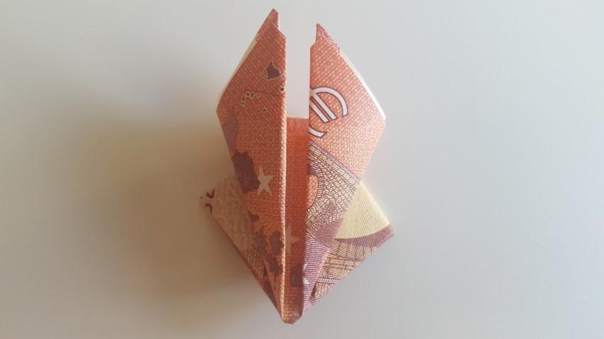 Den-Geldschein-einmal-umdrehen-und-die-rechte-und-linke-Seite-entlang-der-Mittellinie-falten-Geldgeschenk-Frosch-im-Glas-Hand-im-Glück