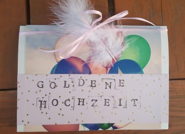 Glückwünschkarte Goldene Hochzeit Hand im Glück