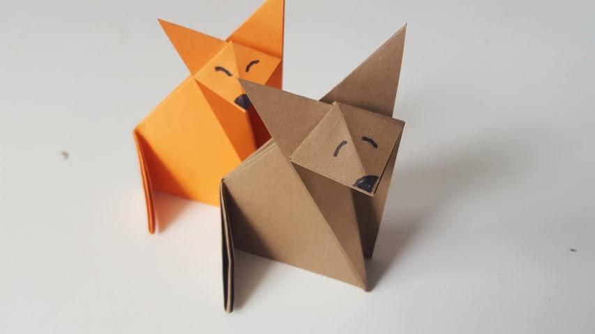 Origami Fuchs Hand im Glück