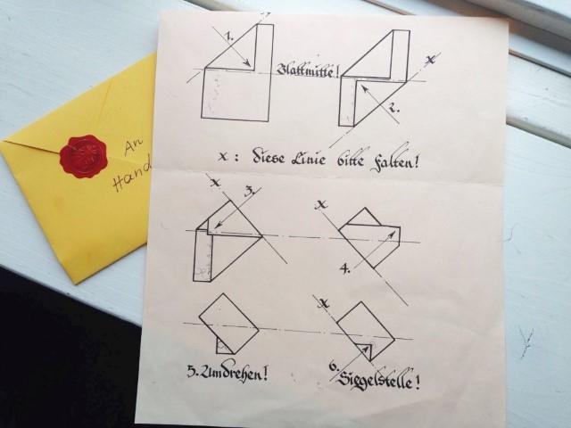 Briefumschlag falten skizze Hand im Glück
