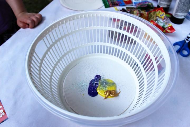 Kinder Basteln mit Salatschleuder und Farbenexplosion (7) (Small)