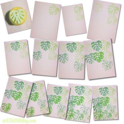 Palmblatt Drucken mit Kartoffel Stempel
