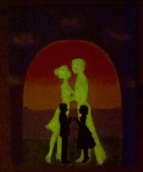 Romantisches Bild mit leuchtenden Hintergrund Hand im Glück