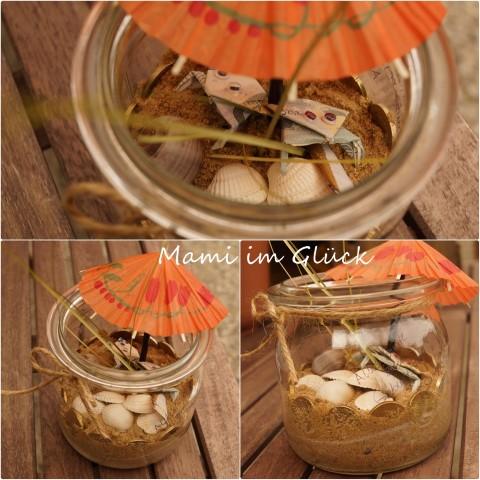 Geldgeschenk Frosch im Glas mit Schirmchen Hand im Glück