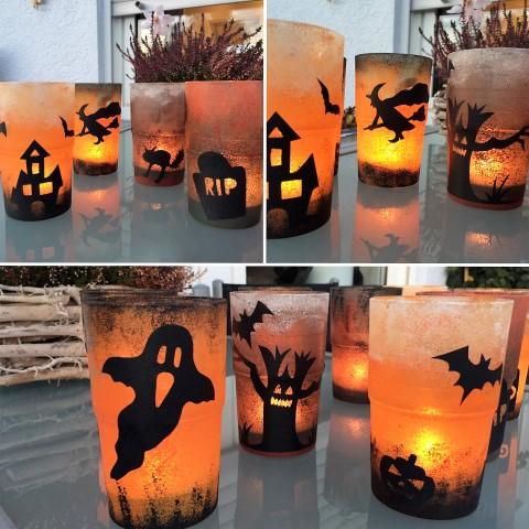 Halloween-Teelichter-selber-machen-Hand im Glück