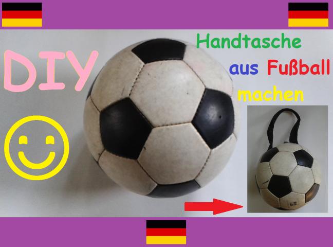 Upcycling Fussball zur Handtasche Hand im Glück