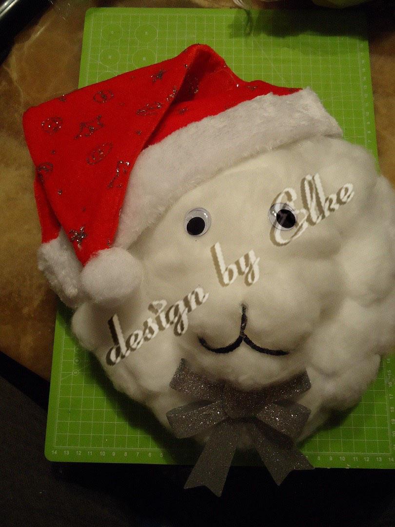 Schafkopf aus Watte selber machen zu Weihnachten als Deko