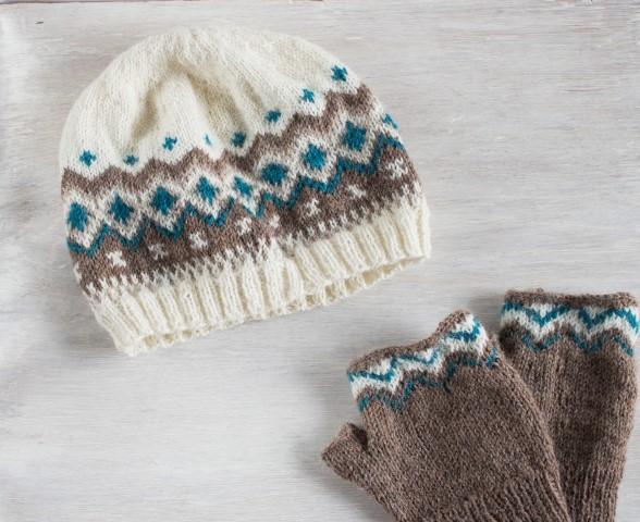 DIY-Fair-Isle-Jaquardmuster-Norweger-Muetze-fingerlose-Handschuhe-selber-machen-Hand im Glück