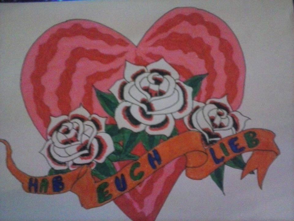Rosen am Herz Filzstiftmalerei Malen und Zeichnen Hand im Glück