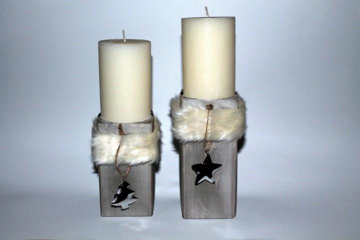 DIY Kerzenhalter aus Gips mit Fell