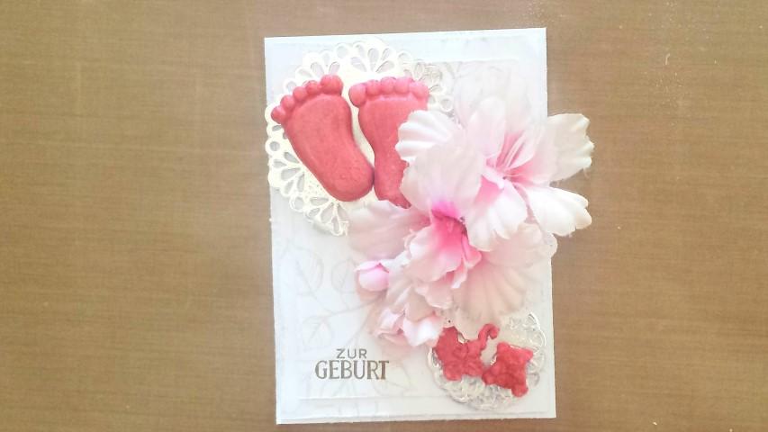 Babykarte mit Tonfiguren in pink Stampin´up Hand im Glück