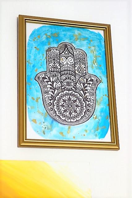 Bild Wall Art Hamsas Hand Mit Wasserfarbe malen HAND im Glück (2