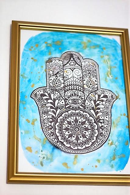 Bild Wall Art Hamsas Hand Mit Wasserfarbe malen HAND im Glück