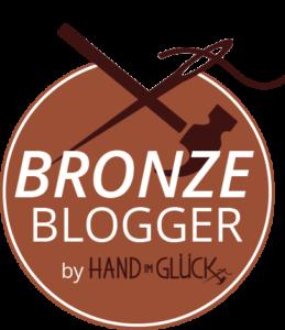 Blogger Button Hand im Glück Button Bronze klein
