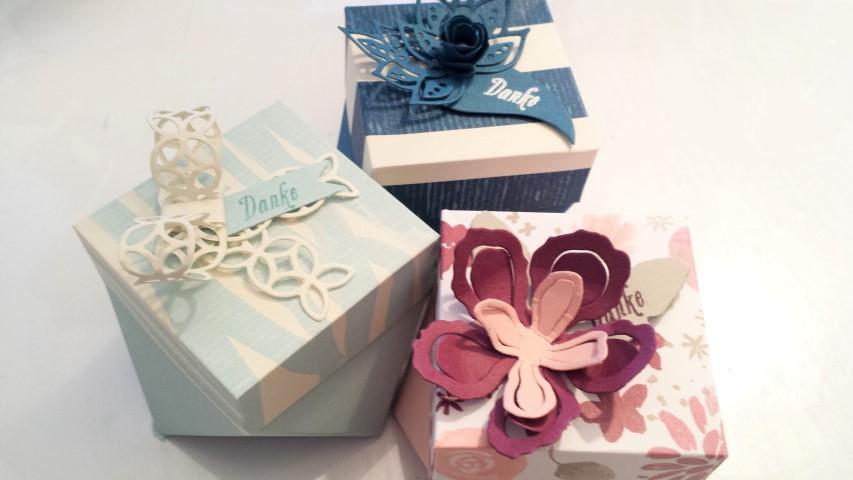 Diamantbox mit dem Punchboard für Geschenktüten Stampin ´up Hand im Glück