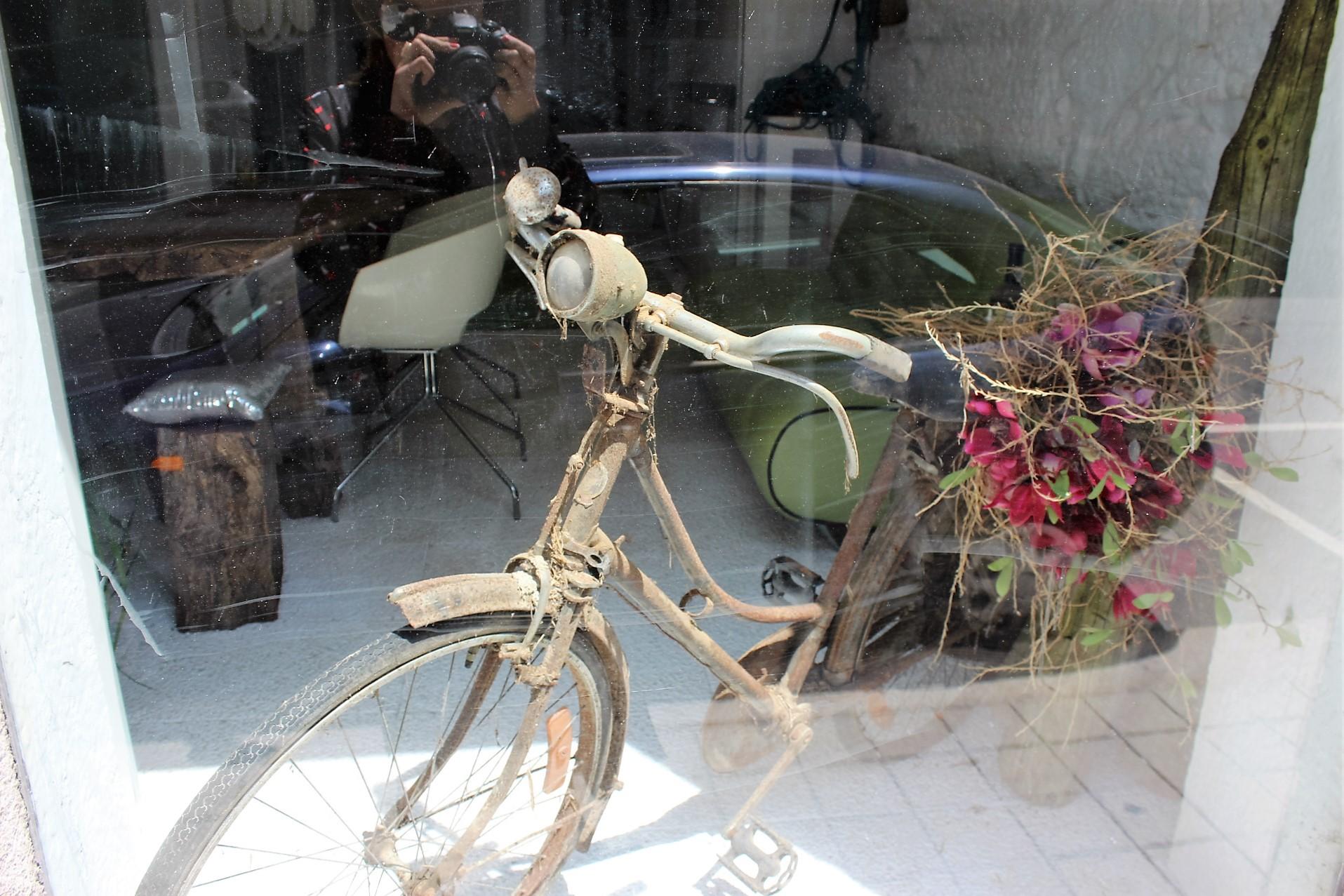 rostiges verstaubtes altes Fahrrad mit Blumen