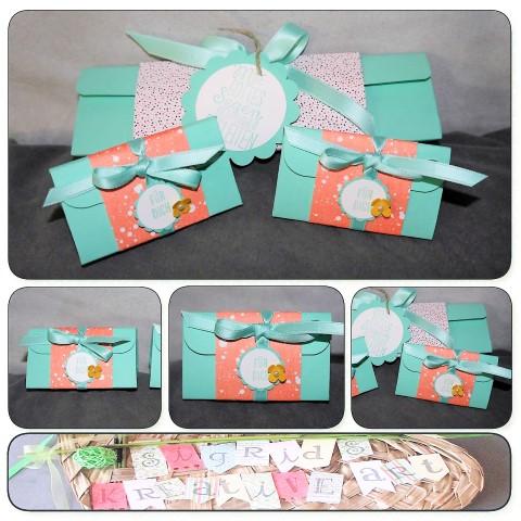 Kleine Dreiecksbox zum Verschenken aus Papier Hand im Glück