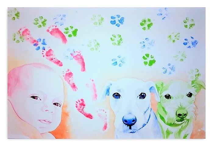 Kreativklecks Portraits Bild Wandgestaltung Hand im GLück