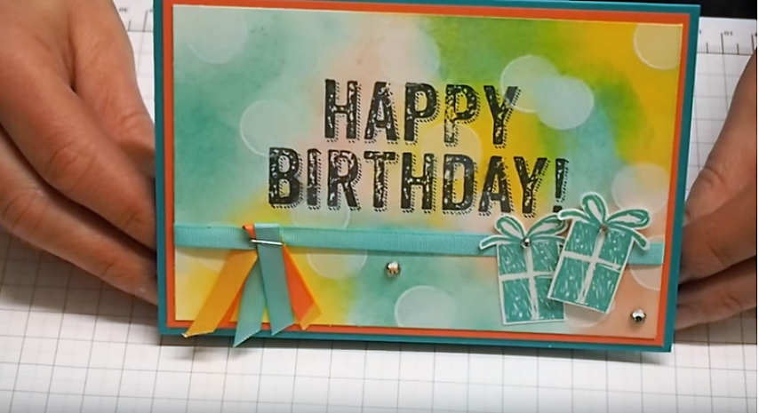 Geburtstagskarte basteln bokeh technik (Small)