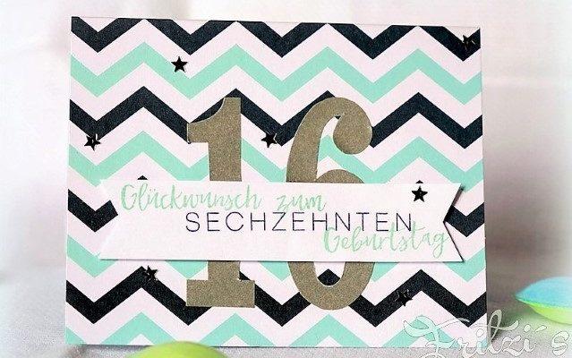 Glückwunschkarte zum 16.Geburtstag aus Papier Hand im Glück