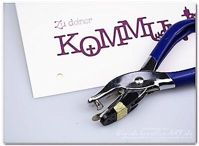 Kommunionkarte aus Papier weiss Himbeer Hand im Glück (1)