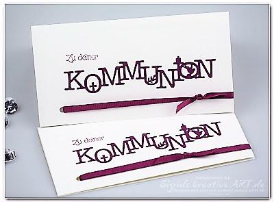 Kommunionkarte aus Papier weiss Himbeer Hand im Glück
