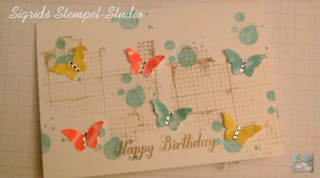Kusstechnik Schmetterlings Geburtstagskarte