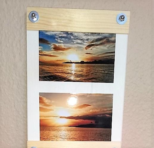 Bilderrahmen Bilderwand selberbauen aus Holzplatte und Holzleiste Hand im Glück (1)