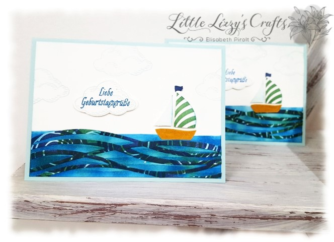 Geschenkkarten Pop Up Stempeln Papier Hand im Glück