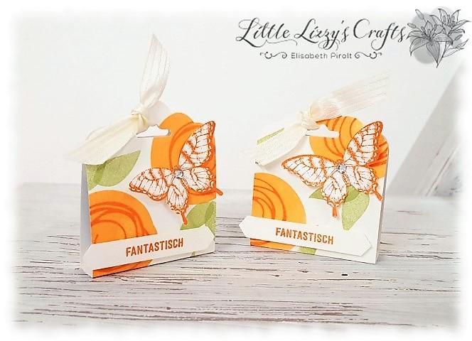 Schmetterlingsverpackung für Schokolade aus Papier Hand im Glück