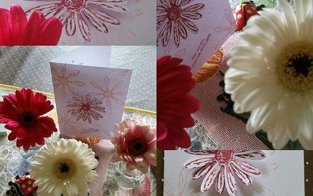 Grußkarte Gänseblümchen selber machen aus Papier Stampin up Hand im Glück