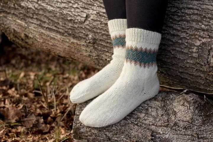 Socken-Fair-Isle-Jacquard-Norweger-Muster-selber-stricken-Bumerang-Ferse-29 Hand im Glück Socken selber stricken