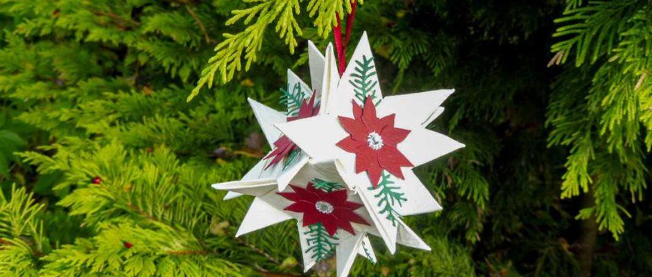 Weihnachtsbaum Kugel aus sternen selber machen Hand im Glueck