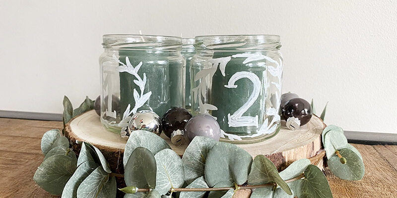 DIY Upcycling Adventskranz aus alten Gläsern
