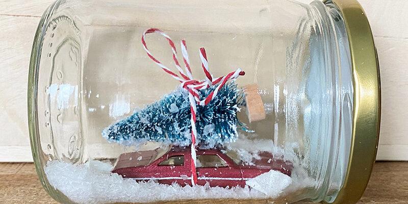 DIY Upcycling Schneekugel aus Schraubglas mit Auto