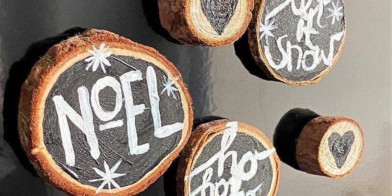 DIY Magnete aus Baumstammscheiben Weihnachten Hand im Glueck