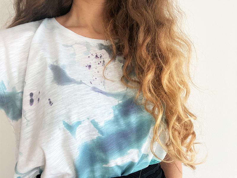 DIY T-Shirt mit Eiswürfel batiken / Upcycling